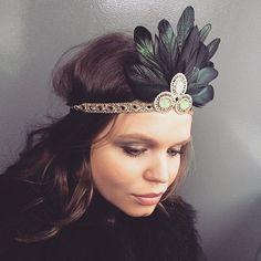 Black Gold Green Feather 1920 Great Gatsby Headband - Art Deco Gold Black Headband
