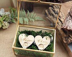 Boîte de bague de mariage, boîte porteur d'anneau, bague géométrique boîte, boîte, boîte à bijoux, vitrail bague alliances, boite hexagone en cuivre