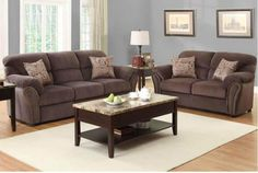 Traditional Chocolate Microfiber Sofa Couch Loveseat Living Nail Head