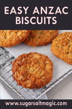 Crunchy on the edges and chewy in the middle this easy Anzac Biscuits recipe is an Aussie classic. These buttery, golden biscuits (aka cookies) can be thrown together and baked all in under 30 minutes. Easy Anzac Biscuits, How To Bake Biscuits, Recipes For Biscuits, Biscuit Recipe Video, Baking Recipes, Cookie Recipes, Aussie Food, Biscuit Cookies, Sweets