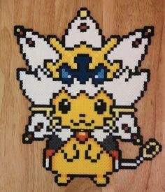 Pyssla Pokemon, Pokemon Perler Beads, Pokemon Alola, Pearler Beads, Pokemon Cross Stitch, Pikachu, Cross Stitching, Beading Patterns, Art Boards