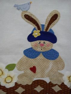 Rabi Pach Aplique, Towel Apron, Table Toppers, Applique Quilts, Easter Bunny, Tea Towels, Cute Animals, Patches, Kids Rugs