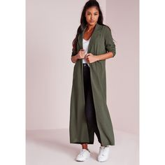 Missguided Long Sleeve Maxi Duster Coat (€42) ❤ liked on Polyvore featuring outerwear, coats, khaki, khaki coat, utility coat, duster coat, long sleeve coat and pink coat