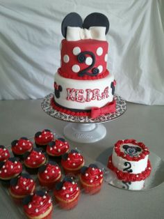 Made by LaKeisha Keck with Sweet Tooth  Mother and Daughter cakes. Minnie K Mouse cake and cupcakes.