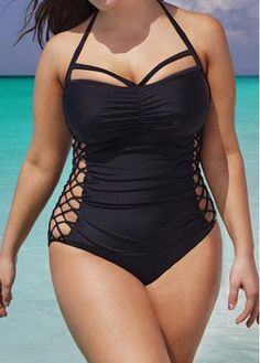 ba91402e6c5 Plus Size Swimwear Women One Piece 2017 Push Up Swimsuit Bandage Swimming  Suit For Women Monokini Swim Suits Sexy Bathing