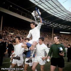 1967  Football League Cup Final - Queens Park Rangers v West Bromwich Albion - Wembley - Mike Keen holds the trophy aloft.