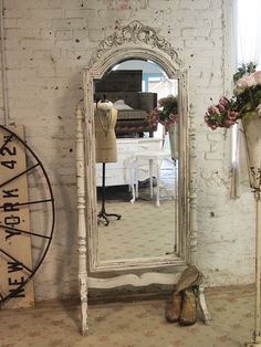 Painted Cottage Chic Shabby White French Mirror by paintedcottages, $395.00