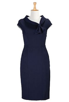 Cowl collar with ties ponte dress from eShakti