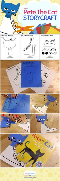 Create this Cat in the Shoe craft inspired by Eric Litwin & James Dean's picture book: Pete the Cat I Love My White Shoes. Craft Template available at http://craftypammy.com/pete-cat-craft/