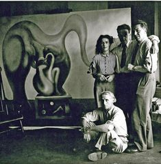 "themaninthegreenshirt: "" Max Ernst, Leonora Carrington, Marcel Duchamp and André Breton, New York 1942 """