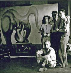 "themaninthegreenshirt: "" Max Ernst, Leonora Carrington, Marcel Duchamp and André Breton, New York 1942 """