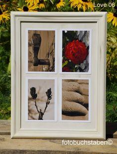 """Foto-Wortschild """"Love"""" im auf einem alt gemachten Holzrahmen mit Fotobuchstaben in sepia und rot - fix und fertig. Erhältlich bei fotobuchstaben.de"""