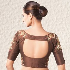 Chocolate blouse in adorn silk with resam and stone embroidery work. Blouse Back Neck Designs, Cotton Saree Blouse Designs, Simple Blouse Designs, Stylish Blouse Design, Bridal Blouse Designs, Sari Blouse, Choli Designs, Designer Blouse Patterns, Beautiful