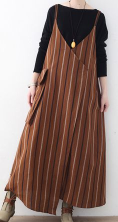 khaki yellow striped linen dresses plus size big pockets cotton dress boutique sleeveless linen dressesMost of our dresses are made of cotton linen fabric, soft and breathy. loose dresses to make you comfortable all the time. Big Size Dress, Plus Size Dresses, Casual Hijab Outfit, Casual Outfits, Linen Dresses, Cotton Dresses, Big Size Fashion, Batik Dress, Striped Linen