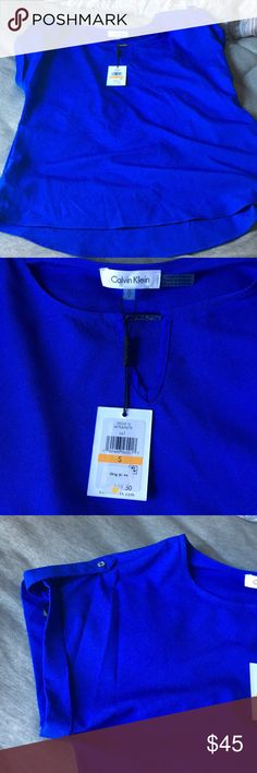 Flowy, crepe blouse Royal blue, never before worn blouse. Loose around the waist, very flattering color. Calvin Klein Collection Tops Blouses