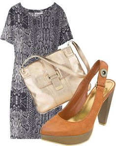Silk snake print shirt dress, Maje, $175, visit  net-a-porter.com Metallic-finish leather handbag, Liz Claiborne, $138, visit  lizclaiborne.com  Platform sling back pump, Nine West, $89, visit  ninewest.com   - ELLE.com