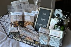 Jenallyson - The Project Girl - Fun Easy Craft Projects including Home Improvement and Decorating - For Women and Moms - Part 3 Guest Room Baskets, Guest Welcome Baskets, Guest Basket, Fun Easy Crafts, Easy Craft Projects, Home Projects, House Guest Gifts, Guest Room Essentials, Breakfast In Bed