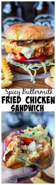 Spicy Buttermilk Fried Chicken Sandwich Recipe is the perfect combination of flavors hot, crispy chicken melted cheese, bacon and that oh so dreamy Sriracha Mayo