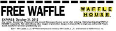 WaffleHouse.com Free Printable Coupon for a Free Waffle at Waffle House – Exp. October 31, 2012