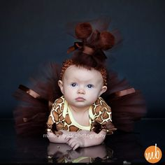 Newborn/Infant/Toddler Giraffe Outfit (3 pieces include onesie tutu and headband) ... Great for themed birthday, photo prop and costume