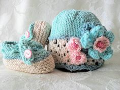 Hand Knitted Baby Hat with Ivory Lace and by CottonPickings, $29.00