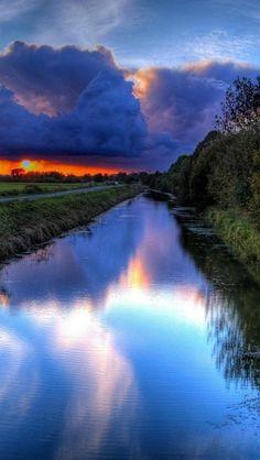 Beautiful river, sunset