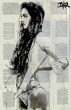 Artist Loui Jover creates striking artwork of pen and ink on fragile vintage book pages
