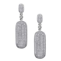 Authentic Lafonn Elegant Cubic Zirconia Sterling Silver Earrings Drop Post Back