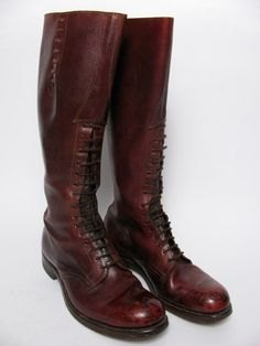 Dehner Patrol Police Motorcycle Bal-Laced Boots E-W 31632 Omaha, Nebr Tall Leather Boots, Leather Riding Boots, Tall Boots, Combat Boots, Mens Shoes Boots, Men's Shoes, Men Closet, Oxblood, Outdoor Outfit