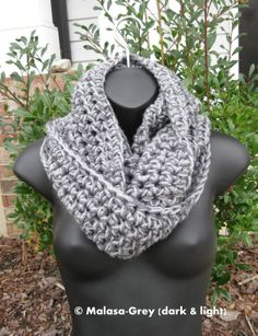 Manhattan Cozy Cowl in Grey and Grey - Handmade scarves wrap nekcwarmer. $44.00, via Etsy.