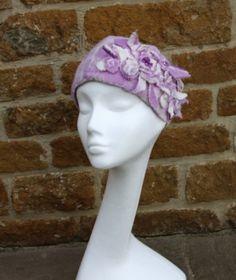 felt headband, pearls, felt flowers, wet felting