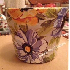 Decoupaged floral planter