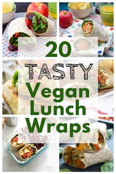 Filled tortilla wraps make a great change from… 20 Best Vegan Lunch Wrap Recipes. Filled tortilla wraps make a great change from sandwiches at lunchtime in a lunchbox. They are also great for picnics. Lunch Snacks, Clean Eating Snacks, Vegetarian Wraps, Vegetarian Recipes, Healthy Recipes, Lunch Recipes, Vegetarian Sandwiches, Healthy Sandwiches, Vegan Sandwich Filling