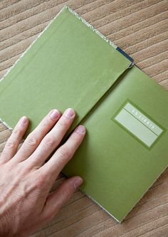 green vintage hand made journal // hard bound by ericmbaral, $23.00