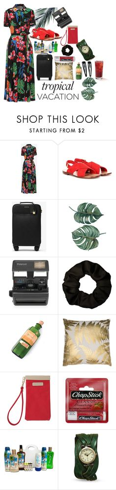 """""""Tropical Vacation"""" by o-jay ❤ liked on Polyvore featuring Valentino, Mansur Gavriel, MICHAEL Michael Kors, Impossible, LG, Capri Designs, Chapstick, Panama Jack and Clips"""