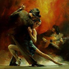 Schilderij - Tango Argentino 3 - Willem Haenraets