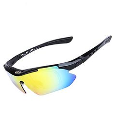 71c929d25b Amazon.com   Polarised Sports Sunglasses - UV400 Protection Glasses With 5  Interchangeable Lenses - Lightweight Detachable Cycling Running Baseball  Driving ...