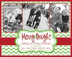 Photo Christmas Card - Multiple Designs - Digital File - You Print - Customizable - 3 photos