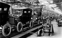 This is a Model T assembly line in the Ford Factory. In 1908 Henry Ford changed the manufacturing industry forever.