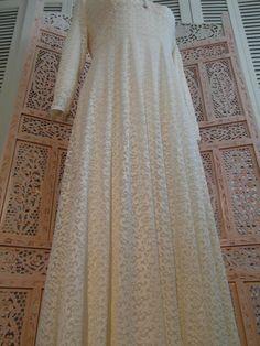 FREE SHIPPING Art Deco Wedding Dress Unique long cream white bride dress with Bohemian lace handmade Bridal accessory