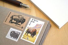 Buffalo Postage Stationery Bison Stamped Card Set by EdelweissPost, $29.00