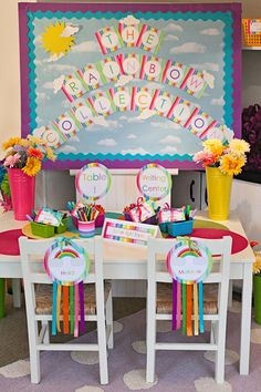 Love the Rainbow Name Signs on Chairs!