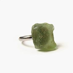 Moss green sea glass ring, Adjustable boho ring, Frosted seaglass shard jewelry primitive statement rough glass shard upcycled beach find