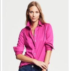 Banana Republic Non Iron Tailored Shirt This sleek non iron tailored shirt in bold pink from Banana Republic is perfect for both work and play.  Very lightly worn and in great condition.  Make an offer today!  This is sure to go fast! Banana Republic Tops Button Down Shirts