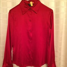 Red Silk Button Down Shirt. Size Small Enjoy soft silk classic red shirt. In great condition. Just dry cleaned. By Victoria Secret Moda clothes line. Has French cuffs. Moda International Tops Button Down Shirts