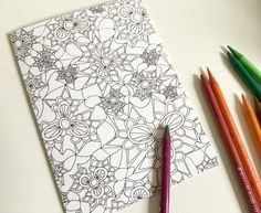 Coloring Book Flower Fan V2 Mandala Zentangle Pattern Greeting Card For Adult Or All