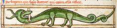 Animal detail from medieval illuminated manuscript, British Library Harley MS 3244, 1236-c 1250, f62v