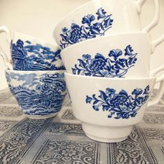 Tea cups of the blue and white kind.