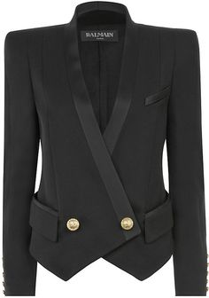 BALMAIN Black Tuxedo Jacket - Lyst