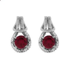 Red Ruby Birthstone Diamond Sterling Silver Love Knot Earrings Available Exclusively at Gemologica.com